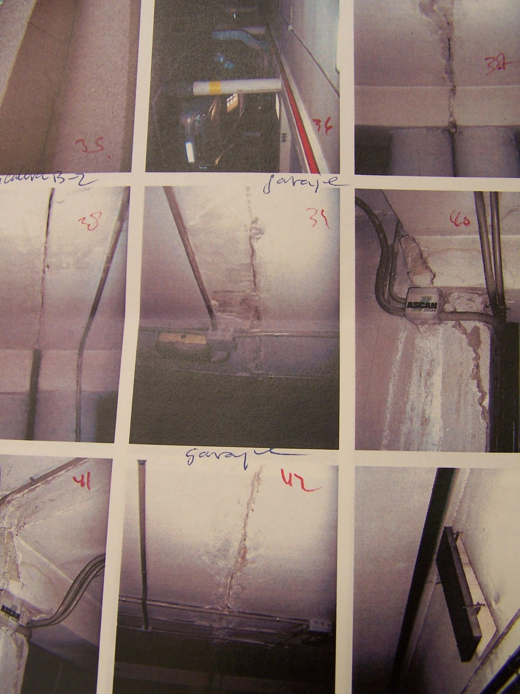 Fotos extraidas del informe municipal sobre las grietas y desperfectos generados por las obras de la Escuela de Artes en el Actur