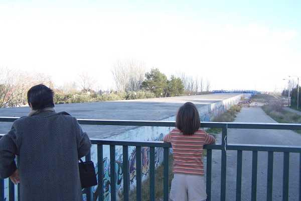 Las vias ya llevan dos años cubiertas a la espera de que el Ayuntamiento de Zaragoza las urbanice