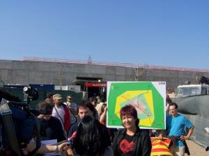 La presidenta de la Junta de San José, en una visita a la estación de cercanías de MIraflores para denunciar su pésimo estado