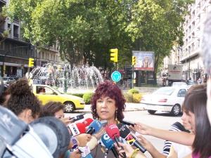 Carmen Gallego durante la rueda de prensa en Gran Vía
